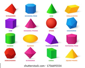 Color basic shapes. Realistic 3d geometric forms cube and ellipsoid, cylinder and sphere, cone and pyramid, dodecahedron and octahedron, learning objects vector education set