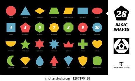 Color basic simple silhouette shapes glyph icon set on a black background with geometric figures: circle, triangle, square, rhombus, trapezium, parallelogram, rectangle, ellipse and more.