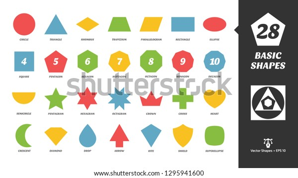 Color Basic Simple Silhouette Shapes Glyph Stock Vector