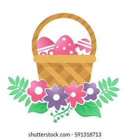 Color basket with Easter eggs. Vector illustration.