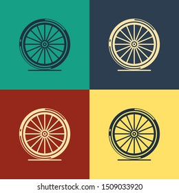 Color Bicycle wheel icon isolated on color background. Bike race. Extreme sport. Sport equipment. Vintage style drawing. Vector Illustration