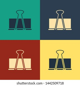 Color Binder clip icon isolated on color background. Paper clip. Vintage style drawing. Vector Illustration