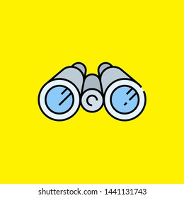 Color binocular line icon. Optical spy binoculars symbol isolated on yellow background. Search lens sign. Vector illustration.