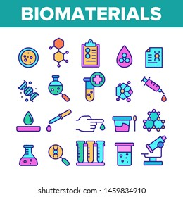 Color Biomaterials, Medical Analysis Vector Linear Icons Set. Biomaterials Research Outline Cliparts. Chemical Experiment Pictograms Collection. Scientific Laboratory Equipment Illustration