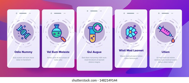 Color Biomaterials, Medical Analysis Vector Onboarding Mobile App Page Screen. Biomaterials Research. Chemical Experiment Pictograms Collection. Scientific Laboratory Equipment Illustration
