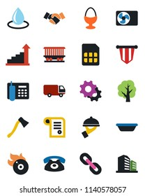 Color and black flat icon set - handshake vector, growth statistic, pennant, tree, water drop, axe, railroad, car delivery, flame disk, chain, settings, sim, office phone, air conditioner, waiter