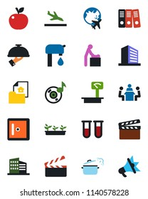 Color and black flat icon set - arrival vector, baby room, plane globe, checkroom, office building, seedling, blood test vial, heavy scales, clapboard, music, paper binder, meeting, water supply