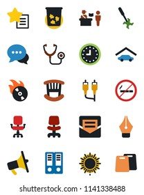 Color and black flat icon set - passport control vector, no smoking, trash bin, sun, office chair, binder, ripper, stethoscope, clock, flame disk, loudspeaker, dialog, favorites list, rca, mail