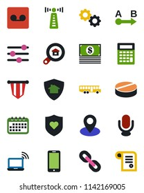 Color and black flat icon set - antenna vector, airport bus, wireless notebook, mobile phone, pennant, pills, heart shield, pin, route, microphone, chain, tuning, record, estate search, gear, cash