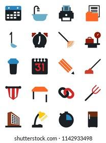 Color and black flat icon set - luggage scales vector, office building, pennant, farm fork, rake, hoe, chain, alarm, stopwatch, calendar, document folder, desk lamp, printer, pencil, table, bathroom
