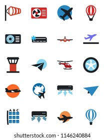 Color and black flat icon set - airport tower vector, departure, wind, plane, helicopter, seat map, globe, air conditioner, fan, paper, balloon