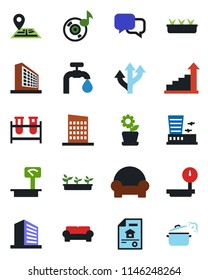 Color and black flat icon set - airport building vector, office, growth statistic, seedling, blood test vial, route, navigation, heavy scales, dialog, music, water supply, estate document
