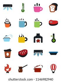 Color and black flat icon set - hot cup vector, coffee, fire, fireplace, air conditioner, bread, steak, bowl, steaming pan, turkish, thermometer, balloon