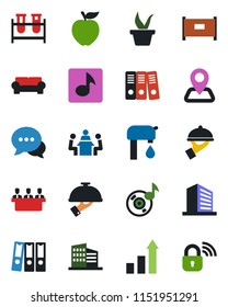 Color and black flat icon set - fence vector, office building, growth statistic, seedling, blood test vial, navigation, dialog, music, paper binder, meeting, water supply, cushioned furniture