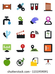 Color and black flat icon set - fence vector, checkroom, statistic monitor, glove, blood test vial, pulse clipboard, route, navigation, satellite, heavy scales, clapboard, music, water supply