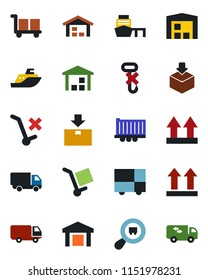 Color and black flat icon set - sea shipping vector, truck trailer, car delivery, port, consolidated cargo, up side sign, no trolley, hook, warehouse, package, search, moving
