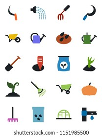 Color and black flat icon set - garden fork vector, shovel, rake, watering can, wheelbarrow, sproute, sickle, plant label, pumpkin, greenhouse, seeds, fertilizer, drip irrigation