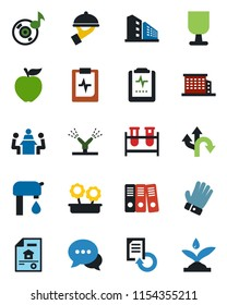 Color and black flat icon set - document reload vector, glove, blood test vial, pulse clipboard, route, fragile, dialog, music, paper binder, meeting, water supply, estate, office building, waiter