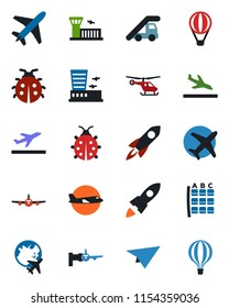 Color and black flat icon set - plane vector, departure, arrival, ladder car, boarding, helicopter, seat map, globe, airport building, lady bug, rocket, paper, air balloon
