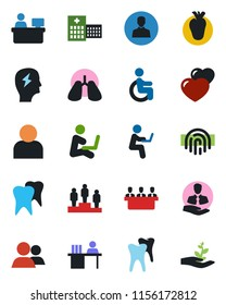 Color and black flat icon set - pedestal vector, brainstorm, manager place, disabled, lungs, real heart, tooth, hospital, client, group, user, fingerprint id, desk, meeting, man with notebook
