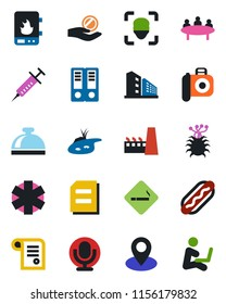 Color and black flat icon set - smoking place vector, reception bell, office binder, document, meeting, syringe, ambulance star, virus, pin, camera, microphone, face id, pond, building, factory