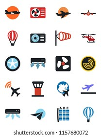 Color and black flat icon set - airport tower vector, plane radar, departure, wind, helicopter, seat map, globe, air conditioner, fan, paper, balloon