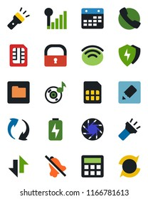 Color and black flat icon set - call vector, update, mobile camera, protect, calculator, sim, folder, calendar, notes, data exchange, wireless, torch, mute, lock, music, cellular signal, charge