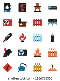 Color and black flat icon set - fire vector, hose, fireplace, thermometer, heater, air conditioner, candle, water, smoke detector, radiator, warm floor