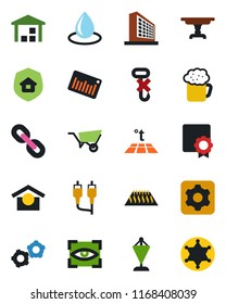 Color and black flat icon set - gear vector, office building, pennant, wheelbarrow, water drop, warehouse storage, no hook, barcode, chain, rca, settings, sertificate, table, estate insurance, beer