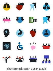 Color and black flat icon set - dispatcher vector, brainstorm, meeting, disabled, stomach, lungs, real heart, tooth, hospital, client, group, user, fingerprint id, company, hierarchy