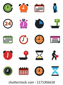 Color and black flat icon set - 24 around vector, alarm clock, calendar, heavy scales, stopwatch, manager, schedule, sand