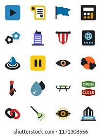 Color and black flat icon set - passport vector, gear, pennant, rake, picnic table, eye, broken bone, chain, play button, pause, calculator, id, tie, city house, open close, water, flag, contract