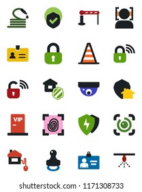 Color and black flat icon set - barrier vector, identity, border cone, card, hose, shield, protect, face id, eye, stamp, lock, estate insurance, vip zone, home control, fingerprint, wireless
