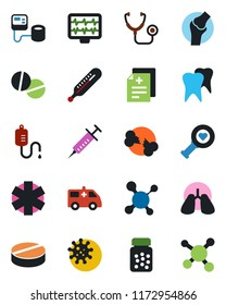 Color and black flat icon set - monitor pulse vector, diagnosis, molecule, stethoscope, syringe, blood pressure, dropper, thermometer, heart diagnostic, pills, bottle, ambulance star, car, lungs