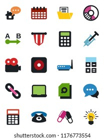 Color and black flat icon set - calculator vector, pennant, calendar, circle chart, syringe, pills, route, dialog, chain, rec button, video, document folder, search, notebook pc, phone, router, idea