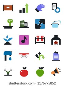 Color and black flat icon set - fence vector, growth statistic, document reload, glove, blood test vial, route, heavy scales, music, application, water supply, office building, fireplace, city house