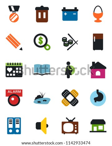 fab634fae Color and black flat icon set - book vector, office binder, medal, house,  patch, stomach, medical calendar, pregnancy, pencil, pond, tv, egg stand,  sushi, ...