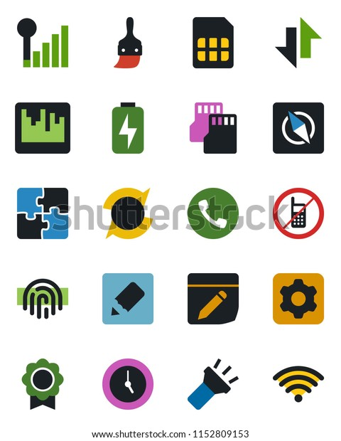 Color Black Flat Icon Set Phone Stock Vector (Royalty Free
