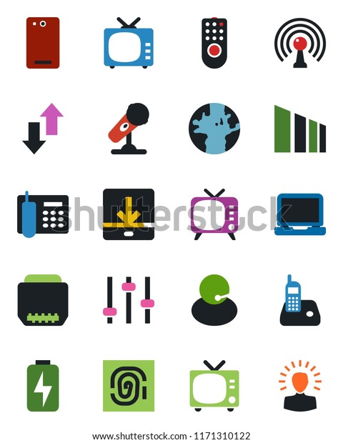 Color Black Flat Icon Set Tv Stock Vector (Royalty Free