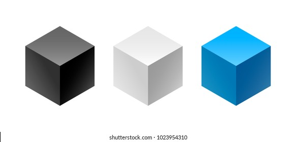 Color and black and white isometric hexagonal 3d boxes and cube with gradients for the game, icon, package design or company logo