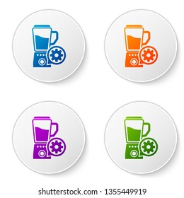 Color Blender with bowl and gear icon isolated on white background. Adjusting app, service concept, setting options, maintenance, repair, fixing. Set icons in circle buttons. Vector Illustration