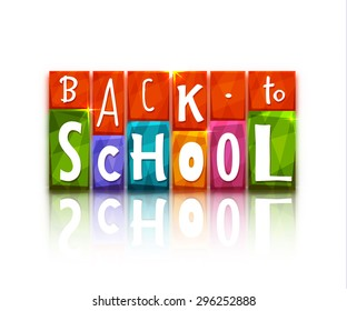 Color blocks with back to school text. Vector illustration.