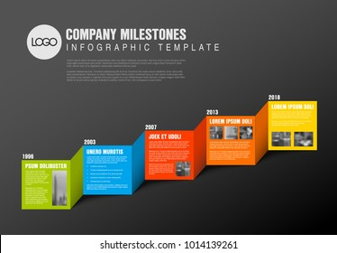 Color blocks timeline template with sample photos and text content made from folded paper - dark version