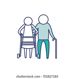color blue silhouette of sections pictogram elderly couple with walking sticks vector illustration