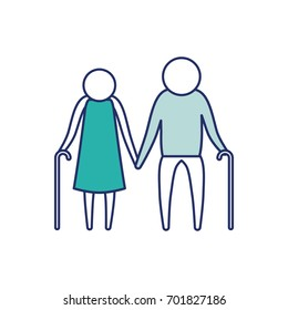 color blue silhouette of sections pictogram elderly couple with walking sticks in clothes vector illustration