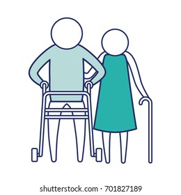 color blue silhouette of sections pictogram elderly couple man and woman in walking sticks vector illustration