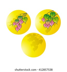 color Bo leaves with branches over yellow circles vector illustration