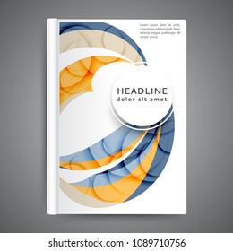 Color book design template. Annual report design with abstract lines and waves