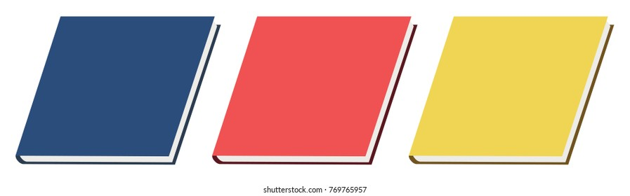 Color book icons. Blue, red and yellow. Textbook, monograph, dissertation, science, education, university, college, notebook.