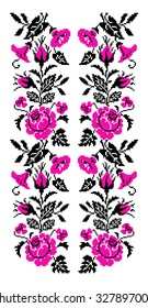 Color bouquet of flowers (roses, bellflowers and pansies) using traditional Ukrainian embroidery elements. Pink and black tones. Seamless  pattern. Can be used as pixel-art.